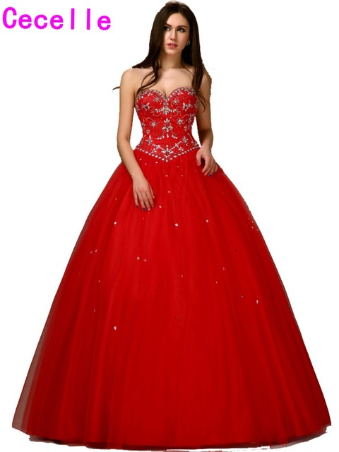 New 2017 Long Red Princess Masquerade Ball Gown Prom Dress Floor ...