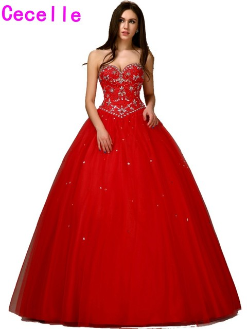 14169eb293 New 2019 Long Red Princess Masquerade Ball Gown Prom Dress Floor Length  Sweetheart Beading Crystals Tulle Corset Girls Prom Gown