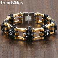 Punk Black Skulls Men's Bracelet Gold Bicycle Link Chain 316L Stainless Steel Bracelet Male Jewelry Dropshipping 18mm KHB373