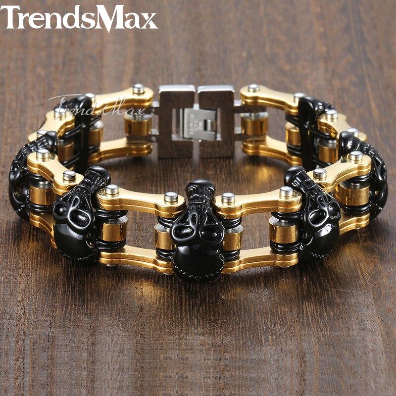 Punk noir crânes hommes Bracelet or vélo lien chaîne 316L acier inoxydable Bracelet mâle bijoux livraison directe 18mm KHB373