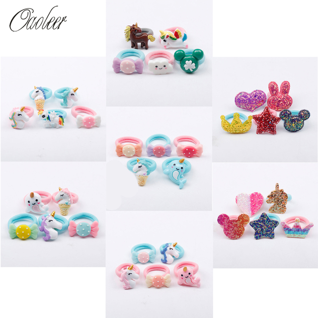 Oaoleer Hair Accessories Elastic Hair Bands for Girls Hair Holder Hairband 5 Pcs/Lot Candy Color Resin Bows Glitter Hair Elastic