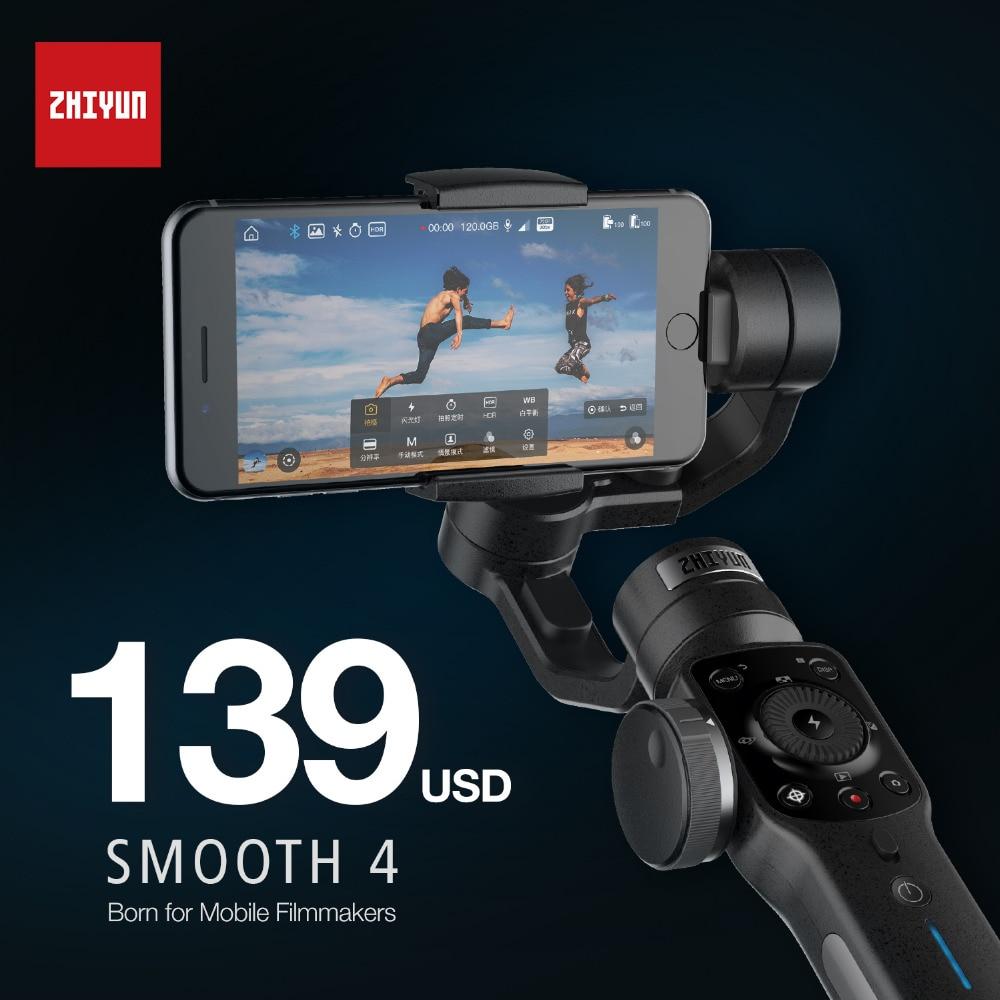 Zhi Yun Zhiyun Smooth Q 4 Gimbal 3-Axis Brushless Handheld phone Stabilizer for iPhone X 8 Xiaomi /Gopro 5 4/SJCAM YI CAM zhi yun zhiyun smooth q gimbal 3 axis brushless handheld phone stabilizer for iphone x 8 xiaomi gopro 5 4 sjcam yi cam smooth q