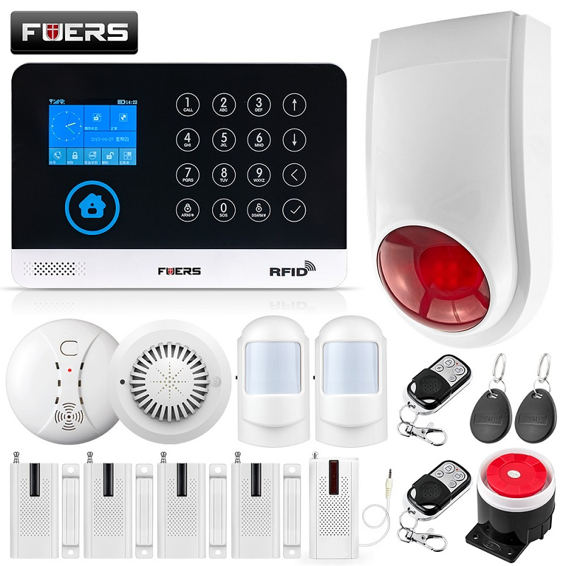 FUERS GSM WI-FI Sistema de Alarme Home Sem Fio do Assaltante Alarme de Segurança 9 LNG Comutável RFID LCD PIR Sensor de Fumaça de Controle APP