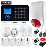 FUERS Wi-Fi GSM сигнализация беспроводная домашняя охранная сигнализация 9 СПГ переключаемая RFID ЖК-PIR датчик дыма приложение управление