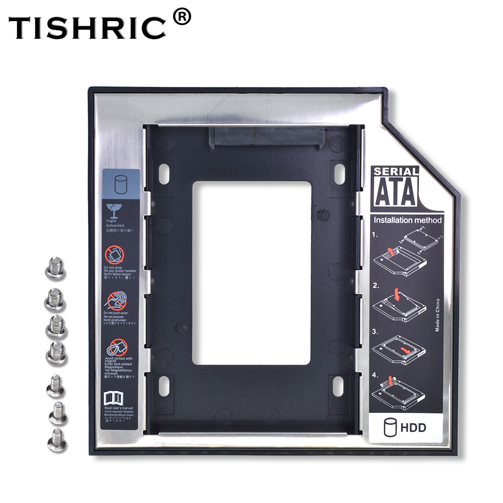 TISHRIC 2nd 2.5 HD HDD SSD Enclosure 12.7mm SATA 3.0 Caddy Adapter For External Hard Drive Disk 2TB Box CD DVD ROM Optibay Case цена