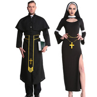 Adult Pastor Priest Monk Robe Cosplay Costume Suit Godfather Missionary Priest Serving Priest Serving Halloween Cosplay Clothing