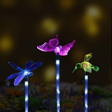 10PCS Color-Changing LED Garden Solar Light Outdoor Waterproof Dragonfly/Butterfly/Bird for Decoration Path Lawn Lamp