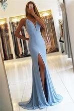 Ameision Simple Mermaid Evening Dresses Long Front Slit Prom Spaghetti Straps Deep V-Neck Blue Dress women