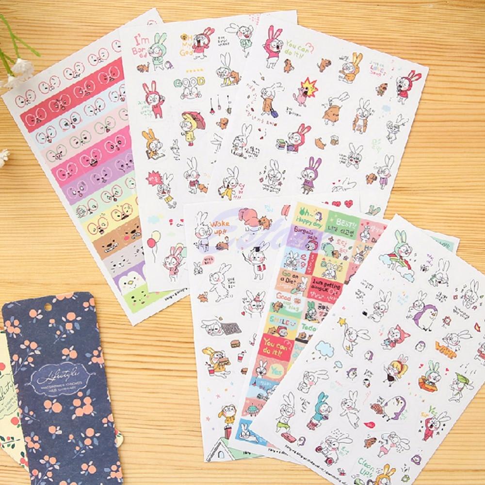 Scrapbook paper books - 6 Sheets Rabbit Diary Book Sticker Scrapbook Calendar Notebook Label Decoration China Mainland