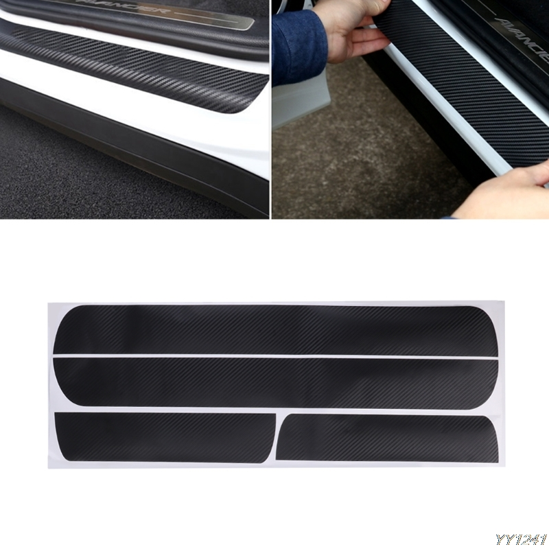 4 Pcs Car Door Scuff Sill Plates Step Plate Protector Carbon Sticker For Chevrolet Cruze Sedan high quality car central station mat sticker for chevrolet cruze black 1pcs free shipping kl12329