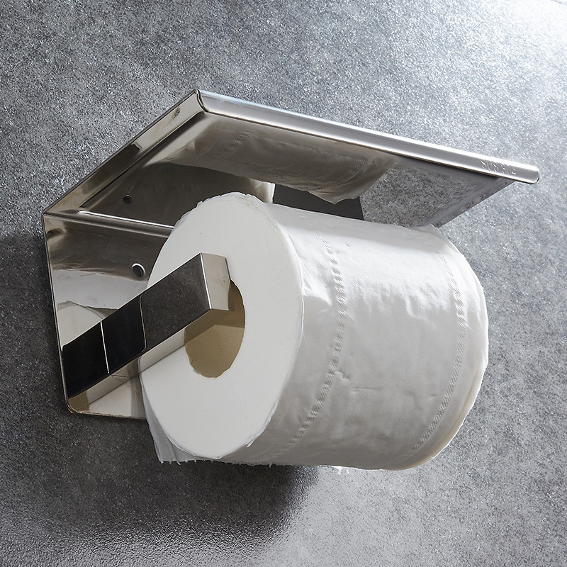 Image 2 - 304 Stainless Steel Toilet Paper Holder With Shelf Wall Mounted Toilet Tissue Mobile Phone Roll Holder Bathroom Accessories-in Paper Holders from Home Improvement