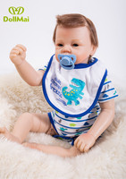 Doll baby reborn Silicone dolls, lifelike doll reborn babies for Children's toys 21inch 53cm The blue clothes doll