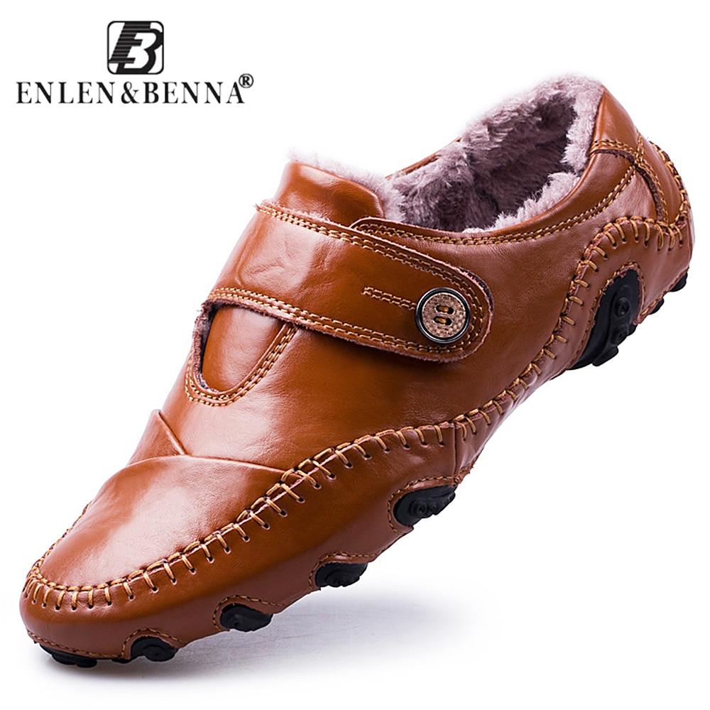 Hommes de Chaussures de Sport de Style Britannique Mocassins En Cuir Véritable Appartements Zapatos Hombre Mocassins Chaussures Hommes D'hiver et Sping Chaussures