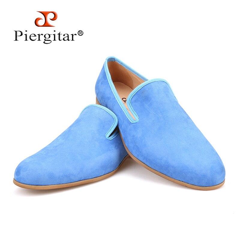 Piergitar/2018 новые летние синие цвета Мужская обувь из замши ручной работы в британском стиле мужские слипперы кожаная стелька мужские лоферы