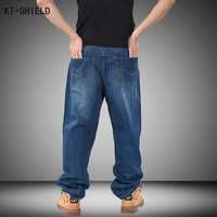 Men Blue Hip Hop Jeans Mens Long Loose Fashion Skateboard Baggy Biker Jeans Relaxed Denim Casual