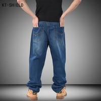 Hommes Bleu Hip-Hop Jeans Mens Long Lâche Mode Planche À Roulettes Baggy Biker Jeans Relaxed Denim Casual HIPHOP Rue Pantalon Plus La taille