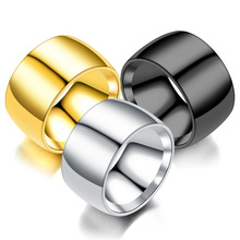 12mm Width Titanium Stainless Steel Smooth Ring For Men Fine Jewelry