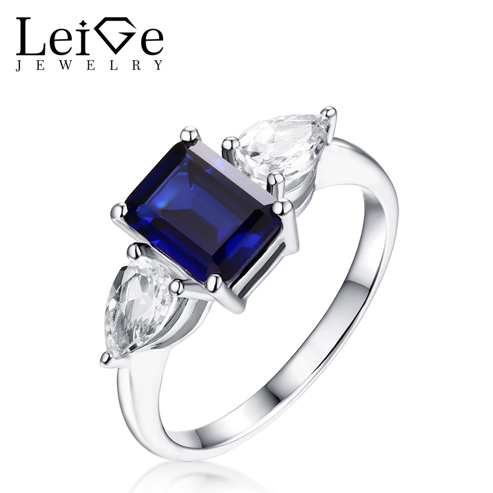 Leige Jewelry Sapphire Ring With White Topaz Emerald Cut Sterling Silver  925 Engagement Promise Rings For
