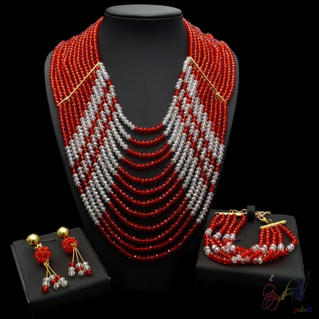 Yulaili Trendy Earrings Bracelet Necklace Set with Elegant High Quality and Exquisite taste Bead Jewelry SetYulaili Trendy Earrings Bracelet Necklace Set with Elegant High Quality and Exquisite taste Bead Jewelry Set