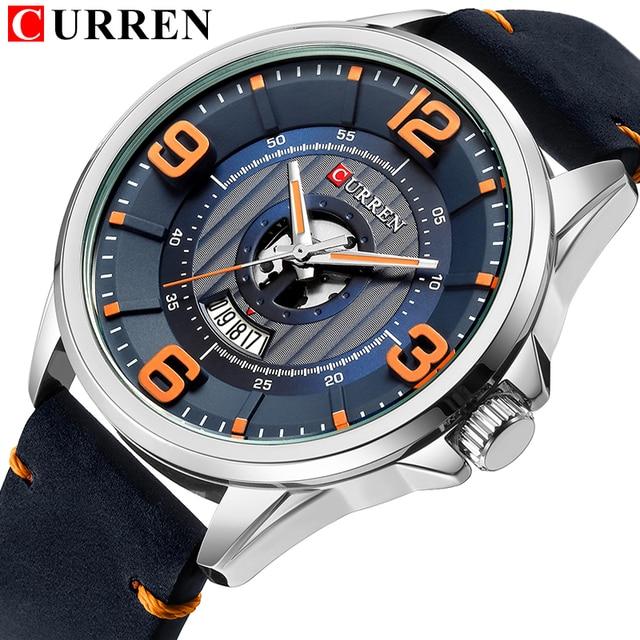 Мужские часы лучший бренд CURREN кожаный наручные часы Аналоговые кварцевые часы для военных время человек Водонепроницаемый часы Мода Relojes ...