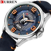 Mens שעונים למעלה מותג CURREN עור שעוני יד אנלוגי צבא הצבאי קוורץ זמן גבר עמיד למים שעון אופנה Relojes Hombre
