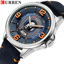 Mens Watches Top Brand CURREN Leather Wristwatch Analog Army