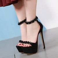Size 34 High Heel Sandals 17cm Stripper Shoes Sexy Black Sandals Summer Wedding Party Shoes Fashion Stiletto Platform High Heels