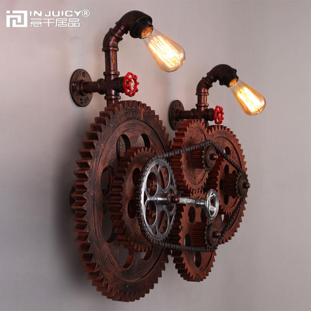 Loft Edison Lâmpada Do Vintage Ferro Forjado Engrenagem Cadeia Luzes Luminária de Parede de Metal Retro Industrial Lâmpada de Parede Arandelas para Café Bar decoração