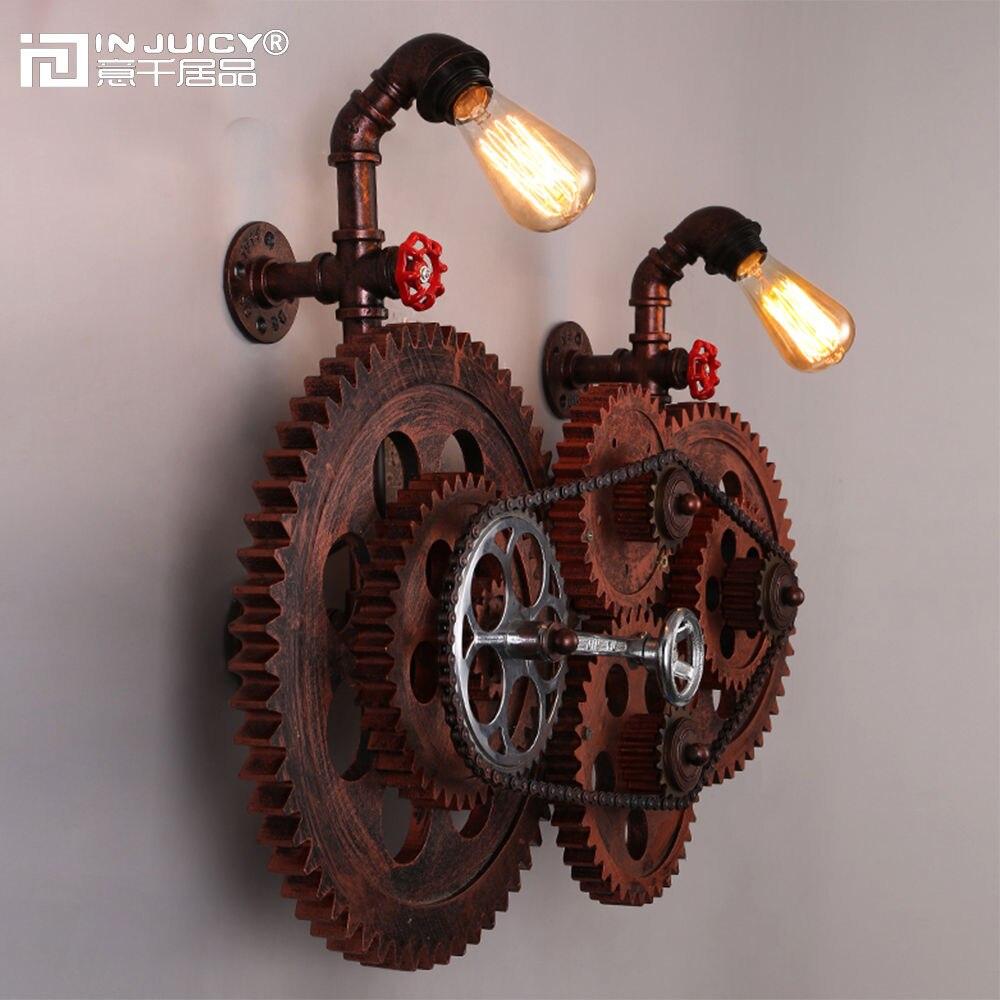 Loft Vintage en fer forgé Edison ampoule engrenage chaîne appliques murales luminaire métal industriel rétro applique appliques pour café Bar décor
