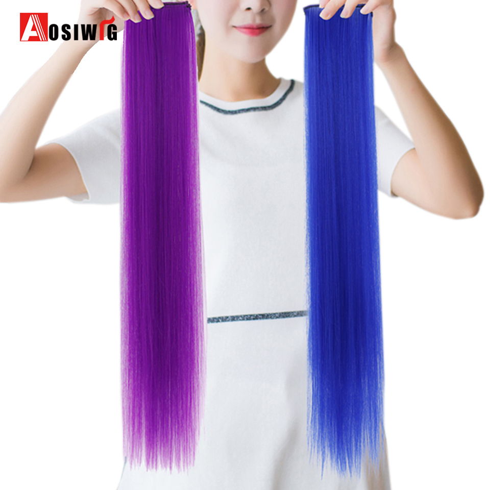 AOSIWIG Long Straight 2 Clip 1 Piece Clip In Hair Extensions Synthetic High Temperature Fiber Fake Hair Pieces