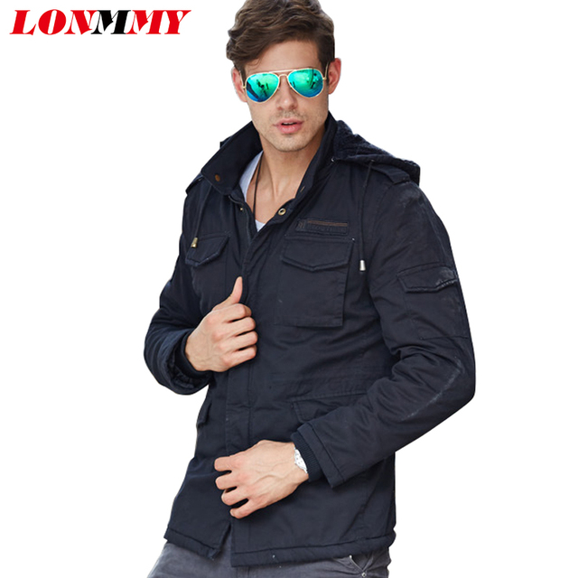 LONMMY L-4XL Windbreaker Military jacket men coat Cotton Wool liner Thick Mens coats jackets Bomber Hoods 2016 Winter jacket men