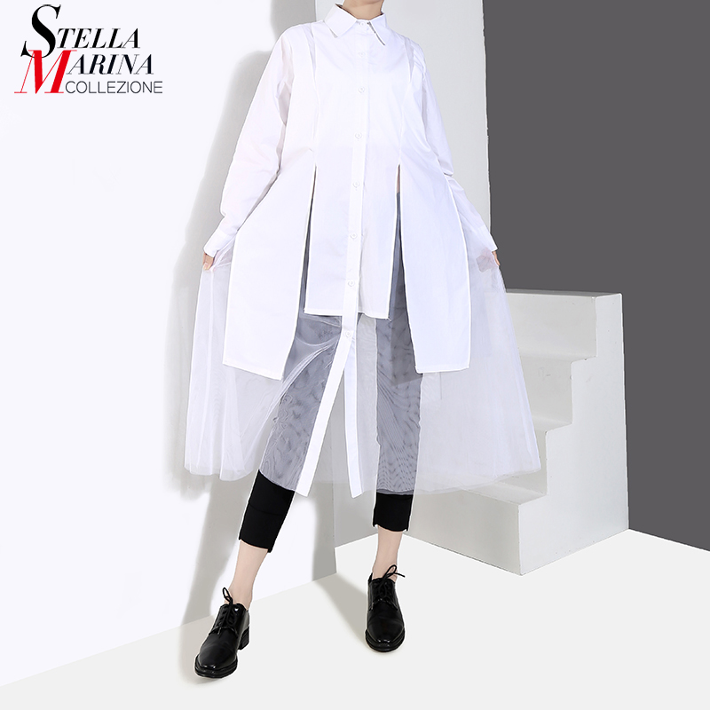 New 2019 Women Solid Black White Shirt Dress Long Sleeve Long Sleeve Knee Length With Mesh Stitched Female Casual Dresses 4845