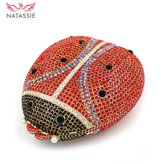 ФОТО NATASSIE Summer 2016 High Quality Women Ladybird Shape Luxury Crystal Evening Clutch Handbag Sisters Party Bag L1022