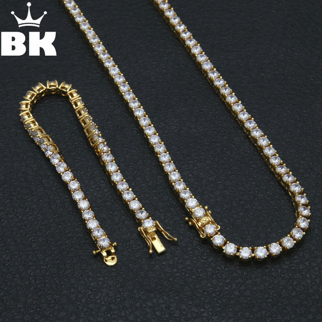 5mm Tennis Chain   Bracelet Set 1 Row Hip Hop Mens Jewelry Set Gold Silver  Plated 92a1166d1e9e
