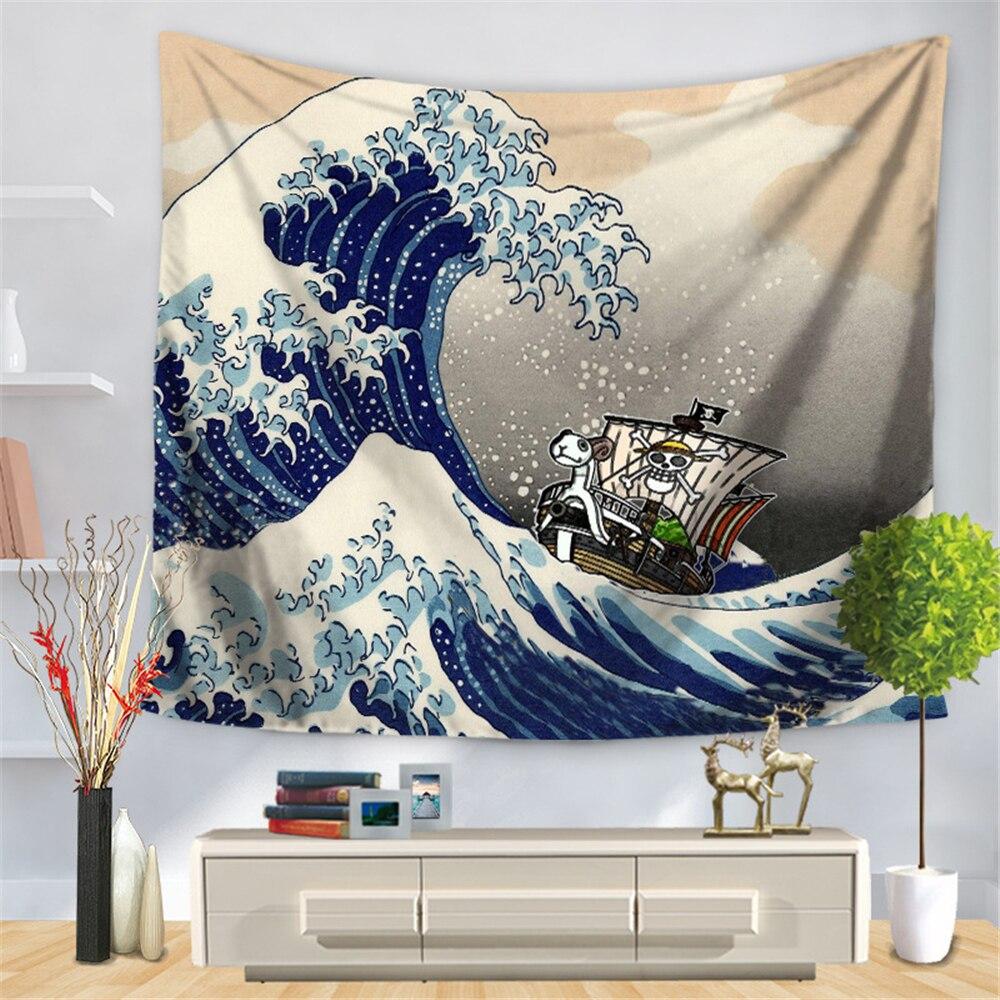 Japonais Ukiyoe Étoilé Ciel Tenture Tapisserie Accueil Tapisseries Décoratives Canapé Couverture Couvre Linge de Table 150*130 CM