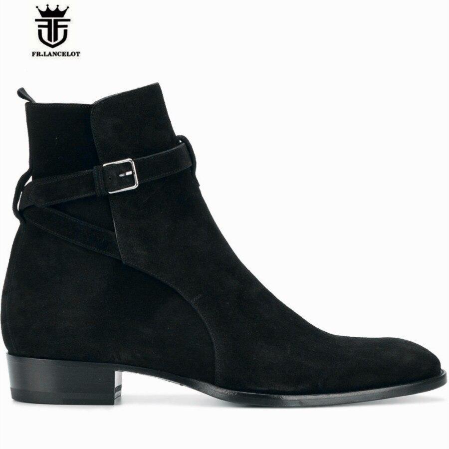 Handmade Vintage Classic Suede Black Genuine Leather Wyatt MID Wedge Boots Plus Size 46 Men Luxury Handmade Chelsea Stage Boots manitobah унты mid classic suede mukluk женские серый