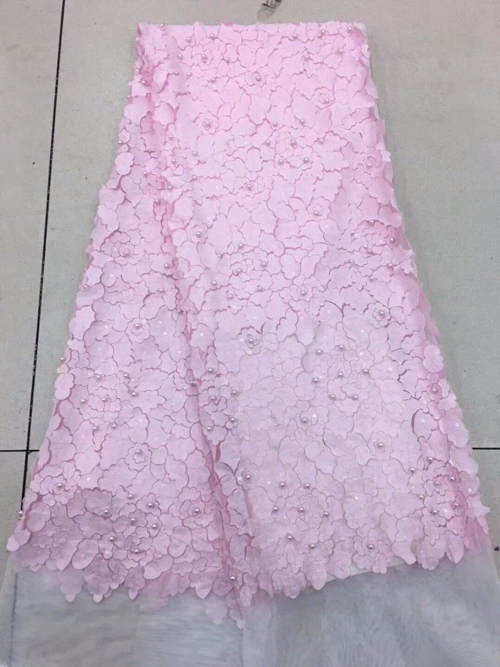 Pink african lace fabric 2019 high quality lace french mesh fabric beaded nigerian swiss lace fabrics