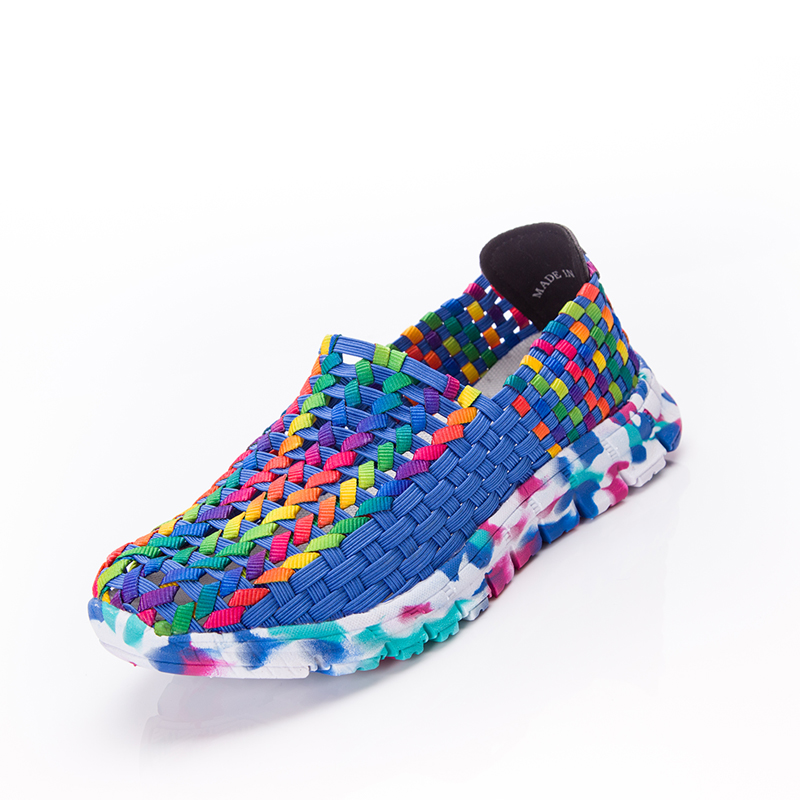 Women Shoes Summer Flat Female Loafers Women Casual Flats Woven Shoes Sneakers Slip On Colorful Walking Shoe Plus Size 41 e lov women casual walking shoes graffiti aries horoscope canvas shoe low top flat oxford shoes for couples lovers