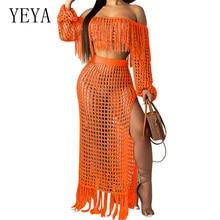 YEYA Big Size S-XXXL Two Piece Set Women Summer Beach Grid Bohemian Strapless Tassel Dress Sexy Hollow Out Fringe Maxi