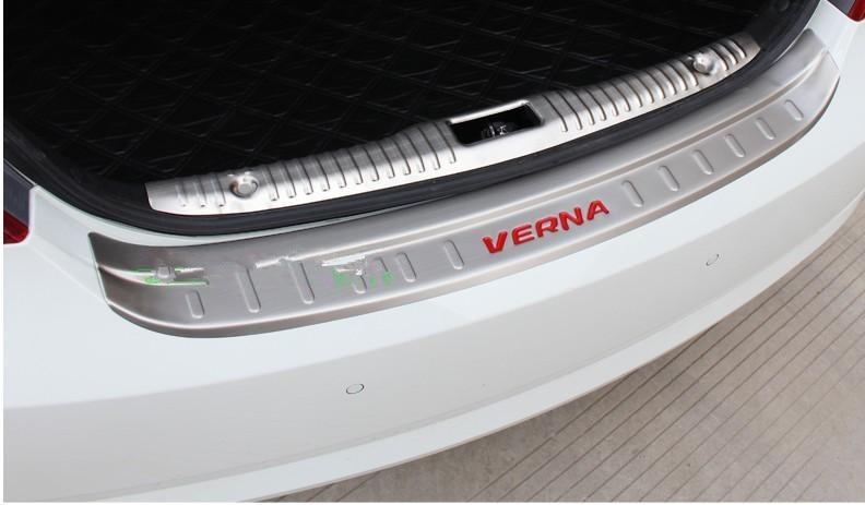 stainless steel Rear Bumper Protector Sill Trunk Tread Plate Trim for Hyundai VERNA 2014-2017 Car styling car styling stainless steel inner rear bumper protector sill trunk tread plate trim for hyundai santa fe ix45 2017