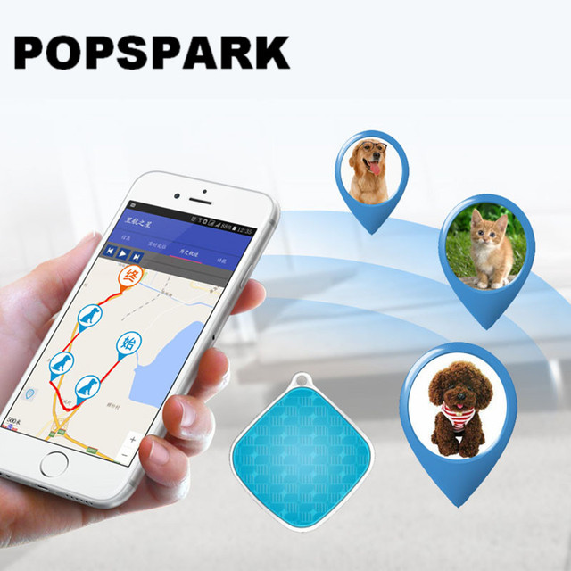 POPSPARK Pet GPS Tracker Waterproof Mini Dog Cat Locator Geo-fence for iOS Android Web