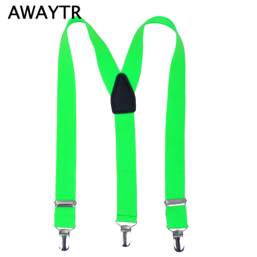 AWAYTR Red/Orange/Green Color Suspenders for Boys Braces Adjustable Straps Clips-on Children Belt Wedding Clothing Accessories