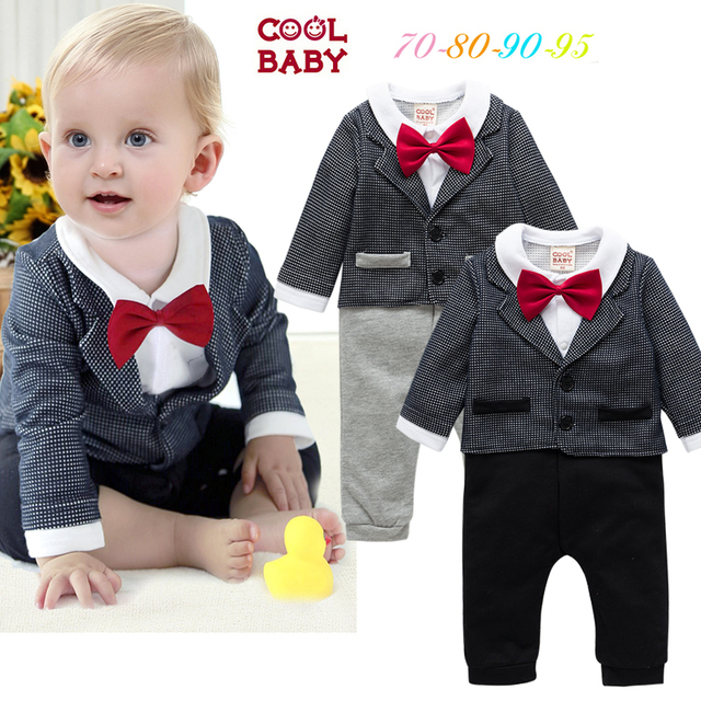 de6ca9d84465 FREE Shipping NEW Autumn Baby boys gentleman party Bow tie Romper overall  70-80-