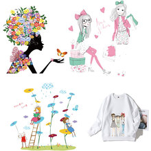 Beautiful Girl Heat Transfer Stickers Washable Iron on Applique Flowers for T-shirt Dresses DIY Clothes Decoration PVC E