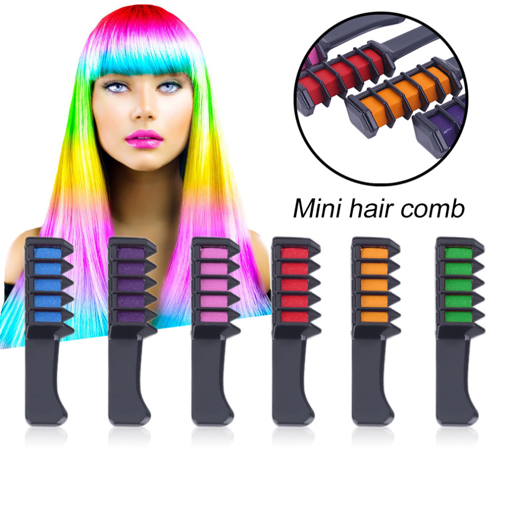 ELECOOL 6PCS/Set Mini Disposable Personal Salon Use Hair Dye brush Professional Crayons For Hair Color Chalk Hair Dyeing Tool coil hair tie 6pcs