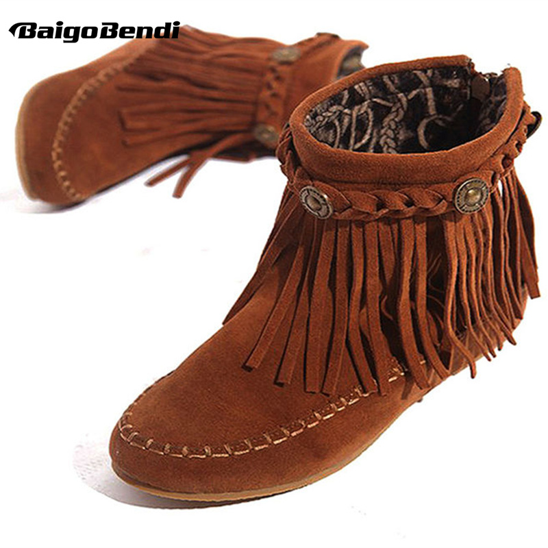 US5-9 Lëkurë Suede Si Moccasin Fringe Tassel Boots Womens shoes wedge