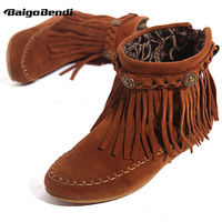 US5 9 Suede Leather Like Moccasin Fringe Tassel Ankle Boots womens wedge shoes
