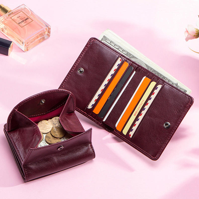 Women's Genuine Leather Wallet Female Small Card Holder Minimalist Womens Wallets Short Purses Key Organizer Mini Passport Cover