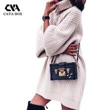 Caya коробка Dames vesten Lange mouw Для женщин Свитер с воротником Большие размеры трикотажный пуловер свитер Зима тянуть Femme Hiver 2017