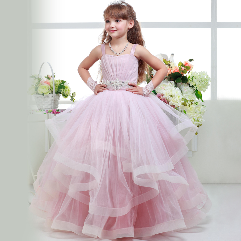 Pageant Dresses for Little Girls Lace Appliques Sleeveless Zipper Floor Length Ruffle Kids Ball Gowns 0-14Y stunning elegant lace appliques half sleeves ruffles floor length heirloom white holy communion kids dresses 0 12 y girls gowns